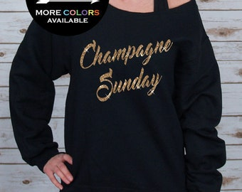 Champagne Sunday Off Shoulder Raw Edge Sweatshirt for Women - GLITTER - Sunday Funday, Mimosas, Brunch, Plus Sizes (Gold Glitter) 562