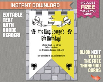 Medieval Knights Party Invitation with FREE Thank you Card! - Knights Invitation - Medieval Invitation - Editable PDF file - Print at home