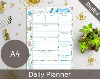 A4 Daily Planner Printable, Printable Daily Schedule, A4 refill, Arinne Blue Bird, Day On One Page, DIY Planner Pages PDF Instant Download