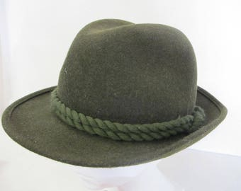 Green Tyrolean Fedora Hat Austrian Hat Hiking Hat Bavarian Hat