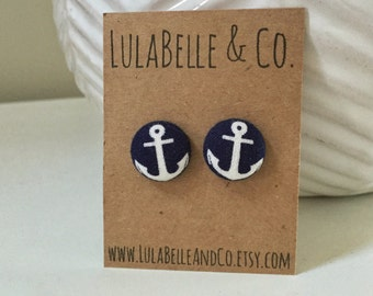 Large Anchors Button Earring