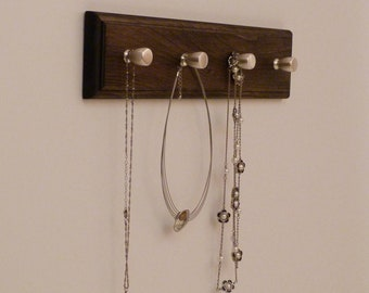 16 inches/4 knobs Jewelry Organizer, Necklace Holder, Bracelet Holder, Expresso
