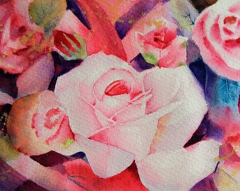 """Roses abstract 6.40""""x9.40""""(print of my watercolor painting)"""