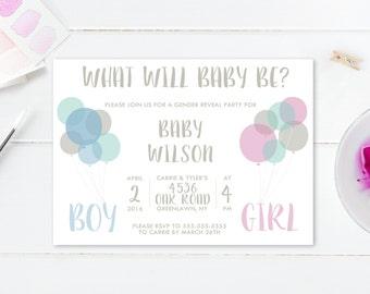 Gender Reveal Invitation, Gender Reveal Party, Gender Reveal Invite, Baby Reveal, Gender Reveal Party, Vintage, Boho, Balloons, Baby [456]