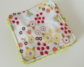 Washable cotton with flowers and green Terry cloth.