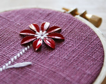 Flora Wall Wear 29 - embroidery flower floral purple red woodland nature hoop wood linen metal mixed media wall art decor small