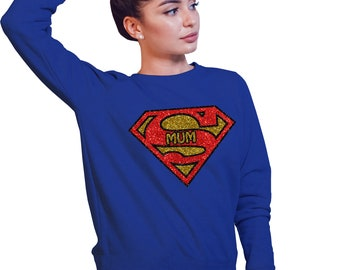 Super Mum sweatshirt in royal blue with all glitter design