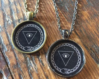 All seeing eye Orobouros necklace