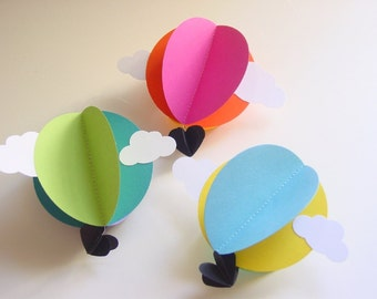 Hot Air Balloon Decorations - Travel Theme Baby Shower Decoration - Hot Air Balloon Mobile- Travel Theme Nursery - Rainbow Baby Mobile
