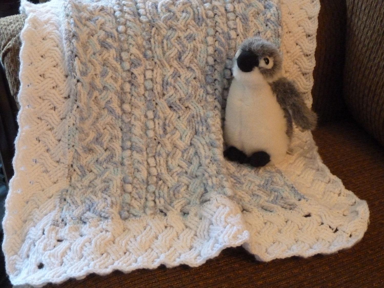 Blue Cloud Baby Cable Braided Aran Afghan Blanket Crochet Pattern ...