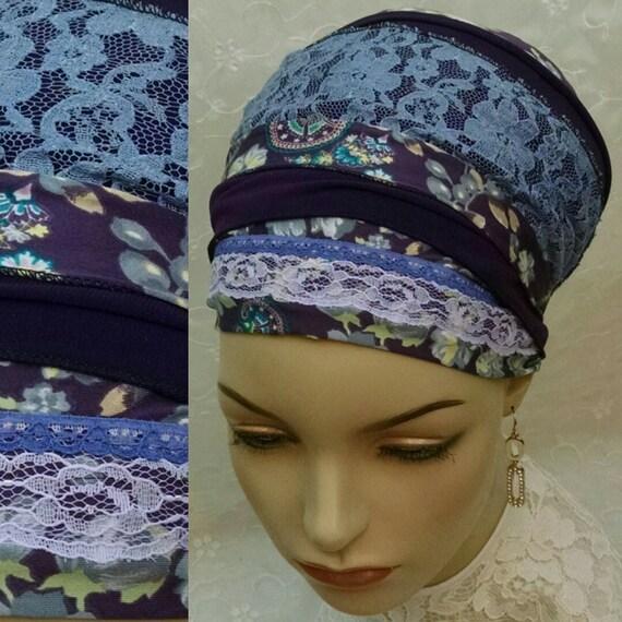 Royal plum sinar tichel, tichels, head wrap, Jewish head scarf, hair covering, chemo scarf, mitpachat, hair snood, apron tichel, plum