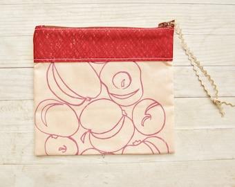 Make up pouch carry-all cosmetic bag zipper pouch pencil case wallet purse apple russet peach screen printed cotton Marimekko handmade gift
