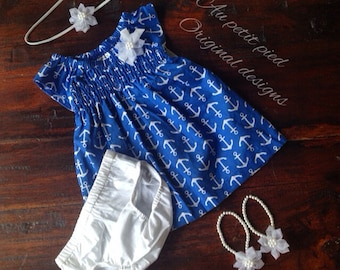 Nautical baby dress set-baby barefoot sandals-baby girl clothes-baby girl gift-baby shower gift-take me home outfit