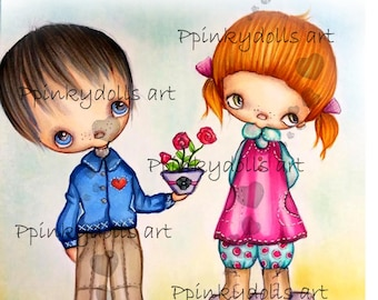 INSTANT DOWNLOAD Digital Digi Stamps..by Chrishanthi's art,Flowers for you''