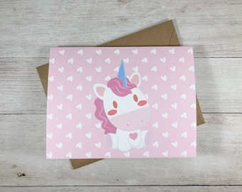 Folded Notecard Set - Unicorn / Magical / Greeting Card / Cute / Kawaii / Gift / A2 Size / Hello / Note Card / Stationery