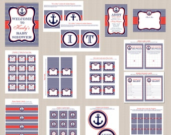 Nautical Baby Shower Printables Collection, Nautical Baby Shower Decorations, Blue, Red, Anchor, Boy Baby Shower, DIY, PRINTABLE