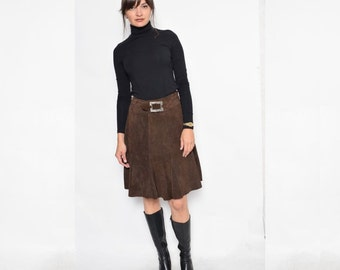 Vintage 80's Suede Leather Flared Skirt / Brown Suede Skirt / High Waisted Suede Skirt - Size Extra Small