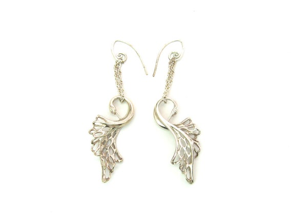 Sterling Silver Swan Earrings Long Handmade by Irish Designer Elena Brennan