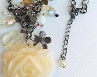 Vintage jewelry  statement necklace large rose Flower Floral Design