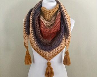 Handmade vintage boho gypsy hippie crochet triangle scarf shawl wrap with tassels purple red yellow cream