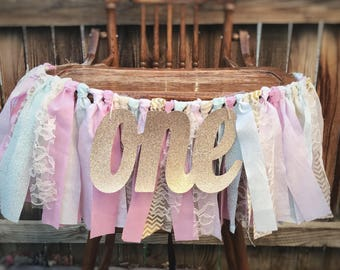 Pink ONE High Chair Banner, Rag Tie Garland, Birthday Banner,