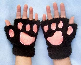 Cat Paw Gloves. Black Cat Gloves. Cat Pawprint Gloves.