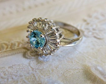 Vintage Aquamarine Ring CZ Sterling Ring Vintage Ring Gift for Her Wedding Ring Statement Ring Gift for Her Size 8