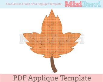 Autumn Leaf Applique Template PDF Instant Download