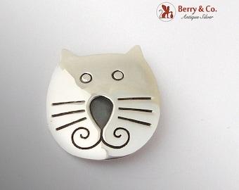 SaLe! sALe! Engraved Cat Head Brooch Sterling Silver