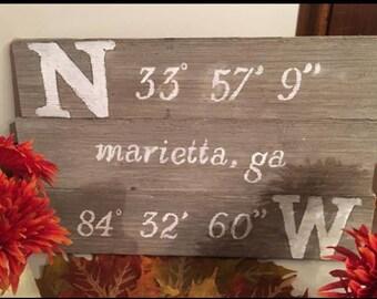 Rustic barn wood latitude/longitude sign