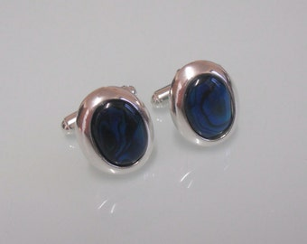 New Classic Sterling Silver & Blue Paua Shell/Abalone Oval 19 x 14mm Cufflinks