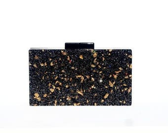 Black and Gold Glitter Acrylic Box Clutch