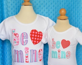 Personalized Valentine's Be Mine Heart Applique Shirt or Bodysuit Girl or Boy