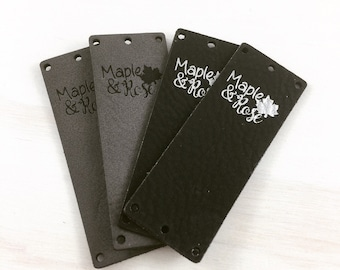 "Ultra Leather FOLD OVER Tags - 20 qty/2""x0.75""/Custom/Laser Engraved/Laser Cut/Garment Tags/Leather Tags/Ultra Leather"