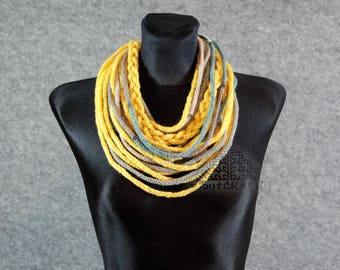 Yellow nad grey wool necklace Textile necklace Fiber art necklace Fiber art jewelry Spaghetti necklace Multi strand necklace Infinity scarf