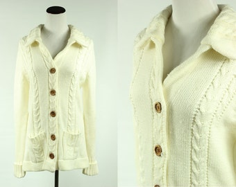 70's Ivory Acrylic Knit Cardigan w/ Wood Buttons