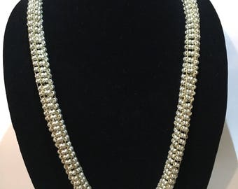 Gold Woven / Knitted Frosted Czech Glass Bead Necklace