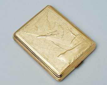 Metall Cigarette Case Gold color Vintage Cigarette Case Icebreaker Lenin Accessorie For Men Retro Cigarette Case Soviet Cigarette Case