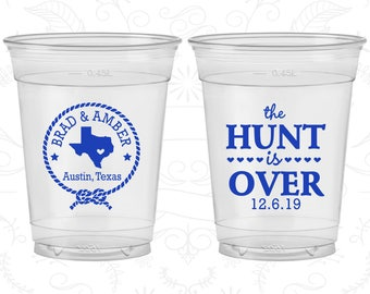 The Hunt is Over, Printed Soft Plastic Cups, Texas, Rustic Wedding, Disposable Cups (26)