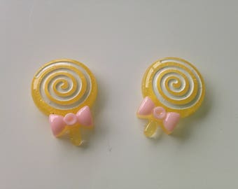 Lot 2 20 mm x 29mm yellow lollipop candy cabochons