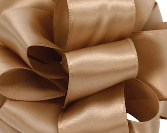 """Wired Ribbon, 1 1/2"""" wide, Satin Champagne Old Gold, THREE YARDS, Offray """"Contessa"""" Champagne Wedding Floral  Wire Edged Ribbon"""