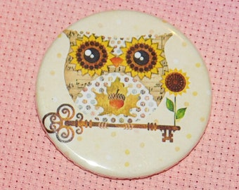 CLEARANCE, Seconds stock, Owl Fall Needle Minder, Licensed, Cross Stitch Keeper, Sandra Vargas, Fridge Magnet, Button Magnet, Pin Holder