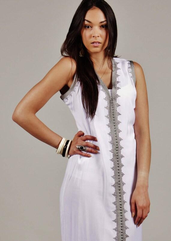 Kaftan Dress White Non Sleeve Kaftan Caftan-Khalida-Resort Kaftan, lounge wear,beach kaftan, beach wedding, birthday, winter dress