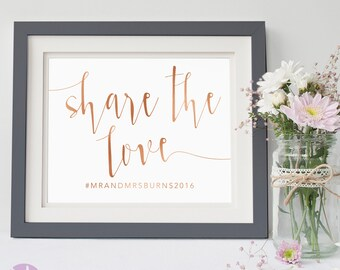 Social Media Sign | Wedding Hashtag | Rose Gold Handwritten | Wedding Signage | Aurora Suite Copper