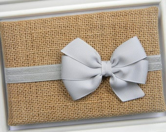 Gray Bow Headband - Newborn Bow Headband - Girls Gray Bow Headband - Baby Gray Bow Headband