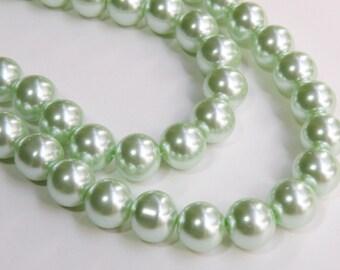 Mint green glass pearl beads round 12mm full strand 7805GB