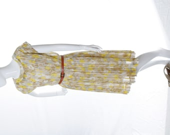 Vintage Pleated Floral Day Dress Yellow White