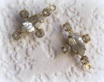 Swarovski Crystal, Clear, 20MM, Multi 5 Stone, Navette, Rhinestone, Chaton, surround, Brass, Prong, CB, Setting,