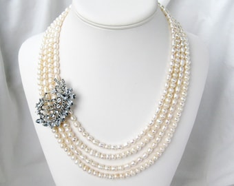 4 Strand Pearl Necklace, Rhinestone Ribbons Branch Accent, 20 inch Silver Bridal Necklace, White Pearl Wedding Necklace, Handmade, Louise