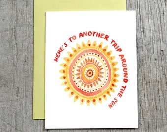 Here's To Another Trip Around The Sun Birthday Card, Watercolor Card by Little Truths Studio